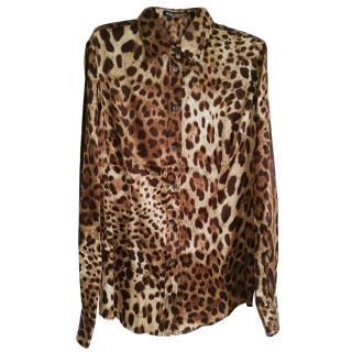 Dolce & Gabbana Leopard Print Silk Shirt
