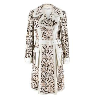 Christian Dior Lynx Print Leather and Goat Fur Coat