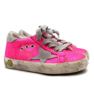 Golden Goose Kids Pink Glitter Superstar Sneaker