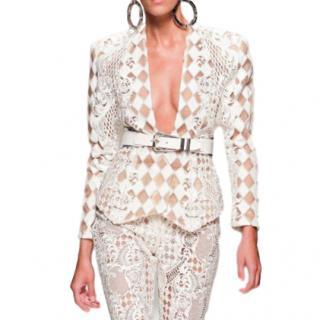 Balmain Nude & White Harlequin Jacket