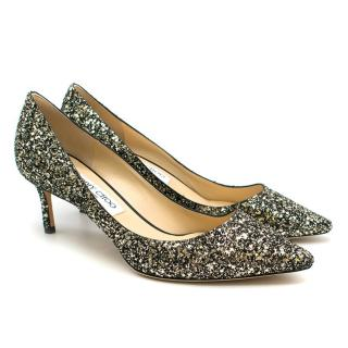 Jimmy Choo Gold Mix Coarse Glitter Romy 60 Pumps