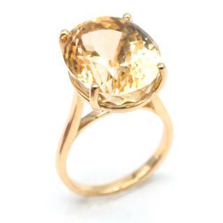 Bespoke Brazilian 20.75 Carat Fine Citrine Gold Set Cocktail Ring