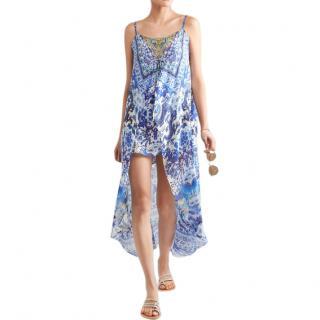 Camilla Asymmetric embellished printed silk dress
