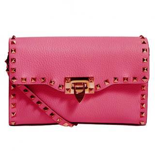 Valentino Rockstud Pink Leather Shoulder Bag