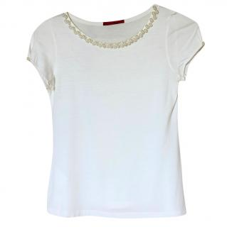 Carolina Herrera Faux-Pearl Trim Top