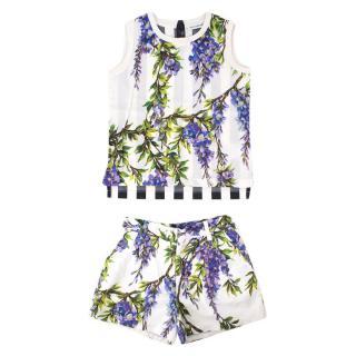 Dolce & Gabbana Girls' Wisteria-print Top and Short Set