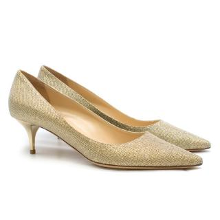Jimmy Choo Gold Lame Kitten Heel Pumps