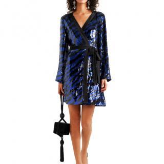 Rixo Blue Zebra sequin-embellished dress