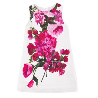 Dolce & Gabbana Girl's White Floral-print Dress