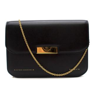 Victoria Beckham Black Leather Eva Clutch - New Season