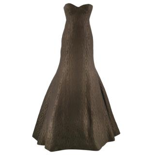 Rochas Chocolate Brown & Green Wool & Silk Jacquard Fishtail Gown