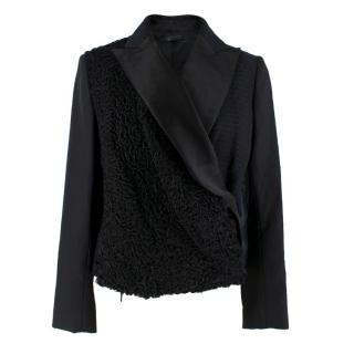 The Row Silk & Astrakhan Fur Wrap Style Jacket