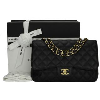 Chanel Caviar Leather Black Jumbo Flap Bag