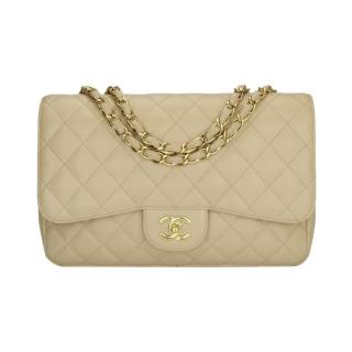 Chanel Beige Clair Caviar Leather Jumbo Flap Bag