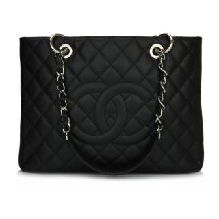 925f3257ce5c82 Chanel Black Caviar Leather Grand Shopping Tote
