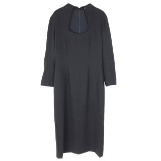 Alexander McQueen Black Fitted Long Sleeved Midi Dress