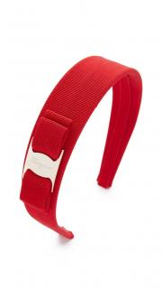 Salvatore Ferragamo Red Grosgrain Vara Headband