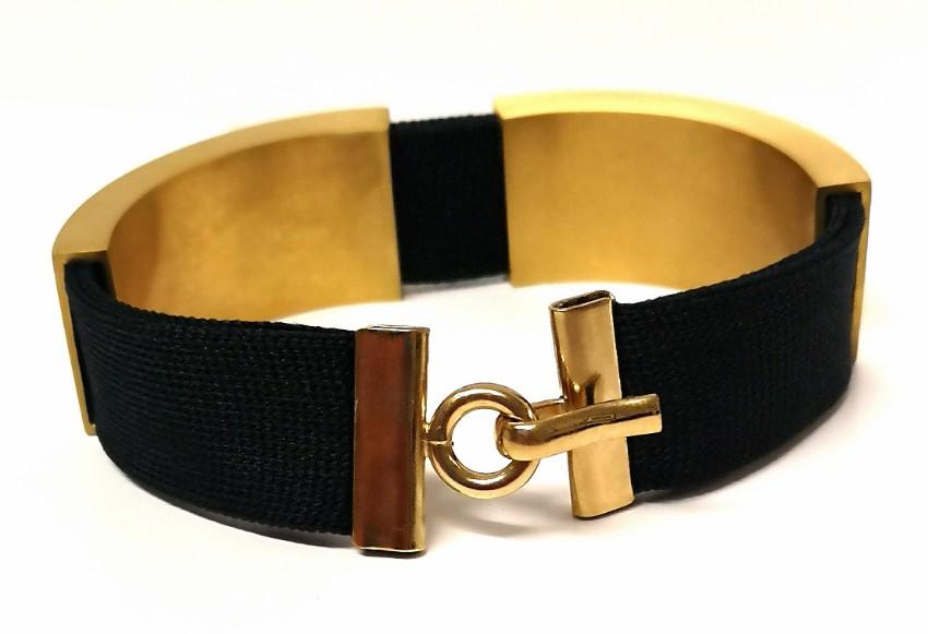Marion Vidal brushed gold and ribbon bracelet