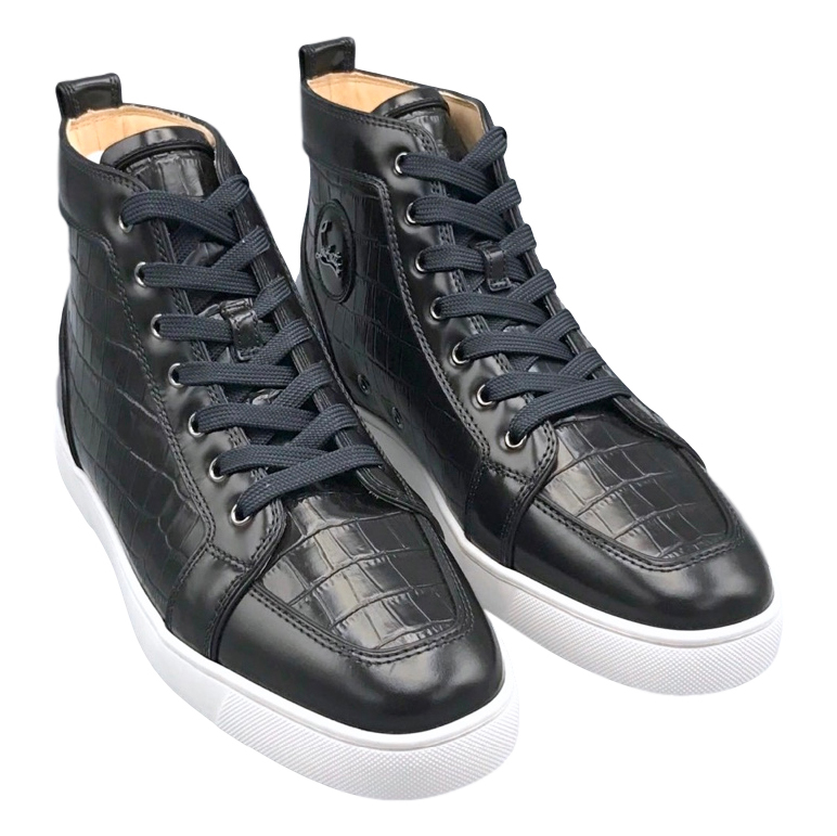 lowest price cb245 83359 Christian Louboutin crocodile-effect leather high-top trainers
