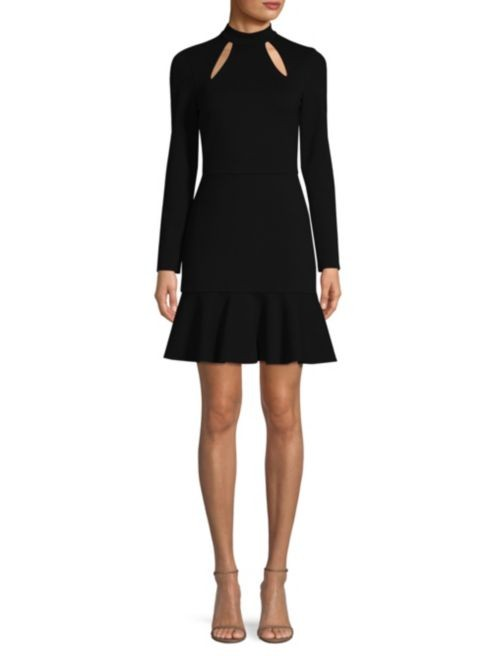 Alice + Olivia Black Jersey Cut-Out Dress