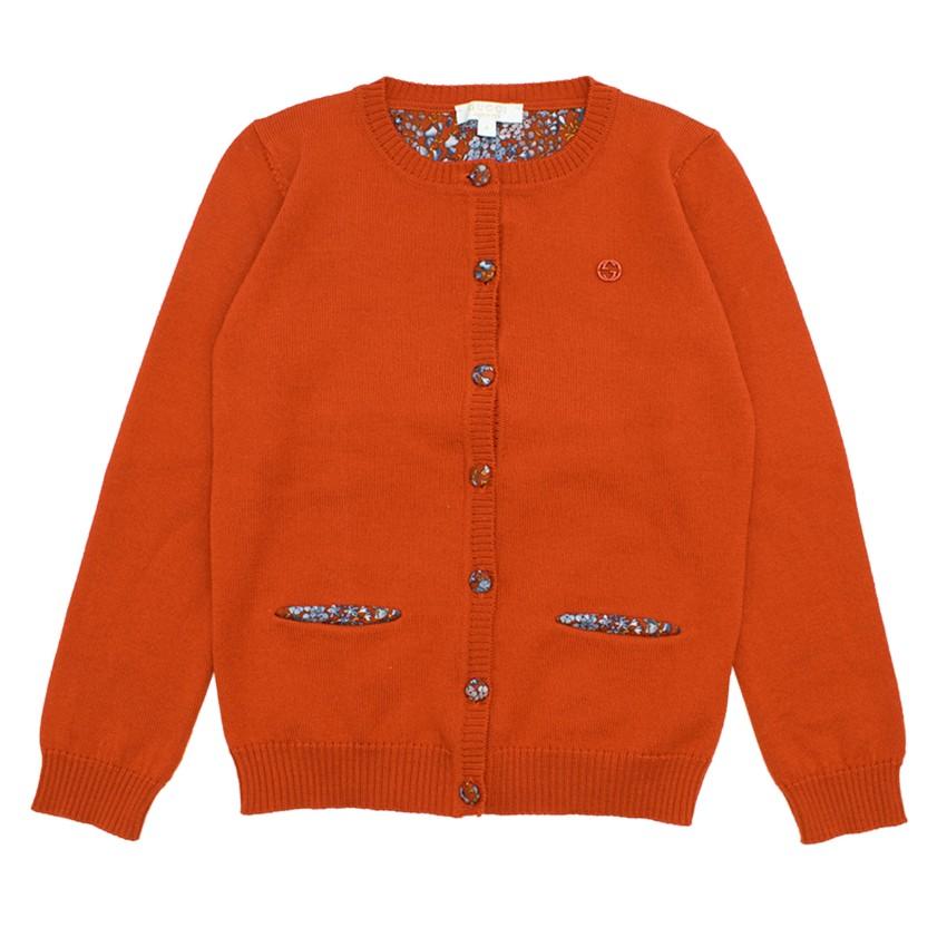 Gucci Girls' Orange Wool Cardigan