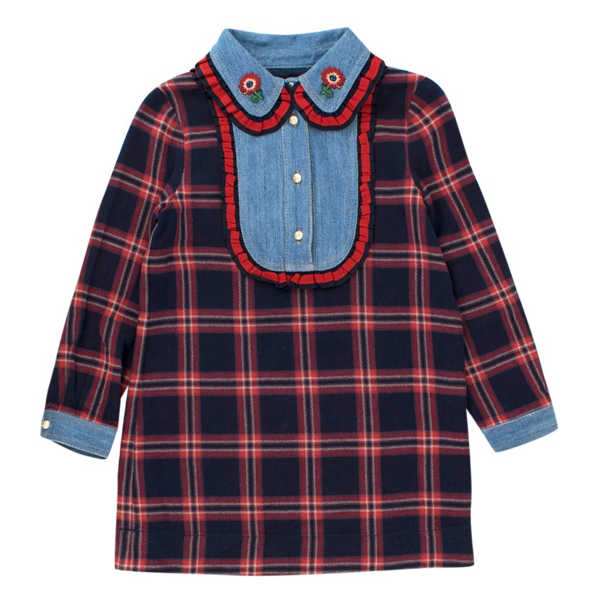 Gucci Girls' Checked Cotton Dress