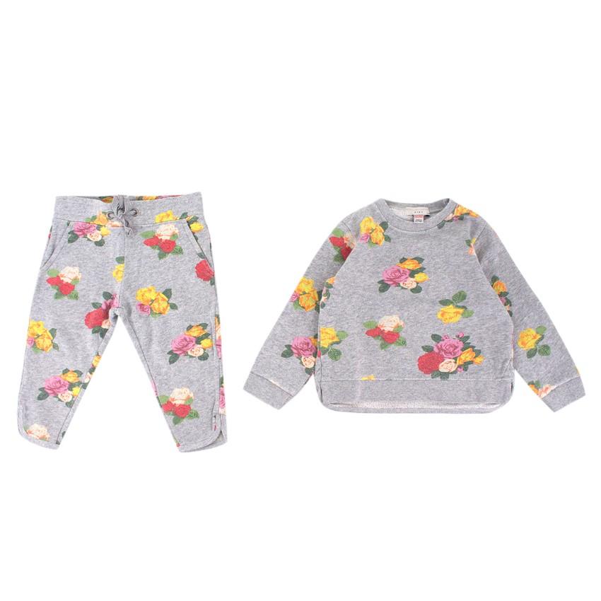 Stella McCartney Girls Grey Floral Sweatshirt and Trousers Set