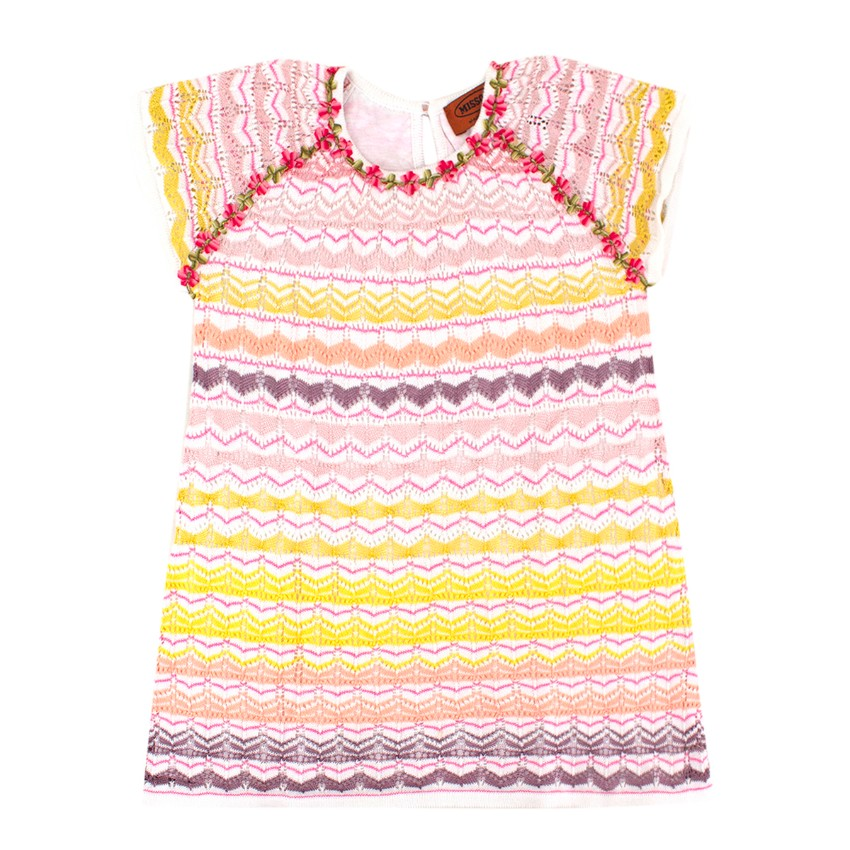 Missoni Girls 2-years Multi Colour Chevron Patterned Dress