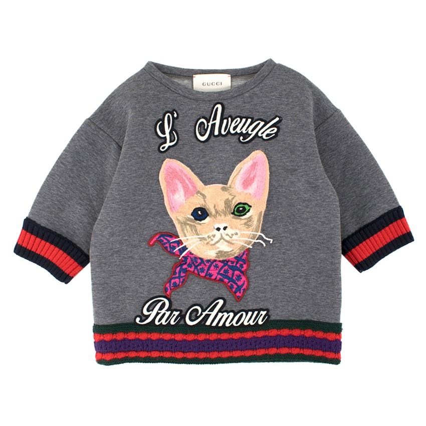 Gucci Girls' Grey L'Avengle Par Amour Embroidered Jumper
