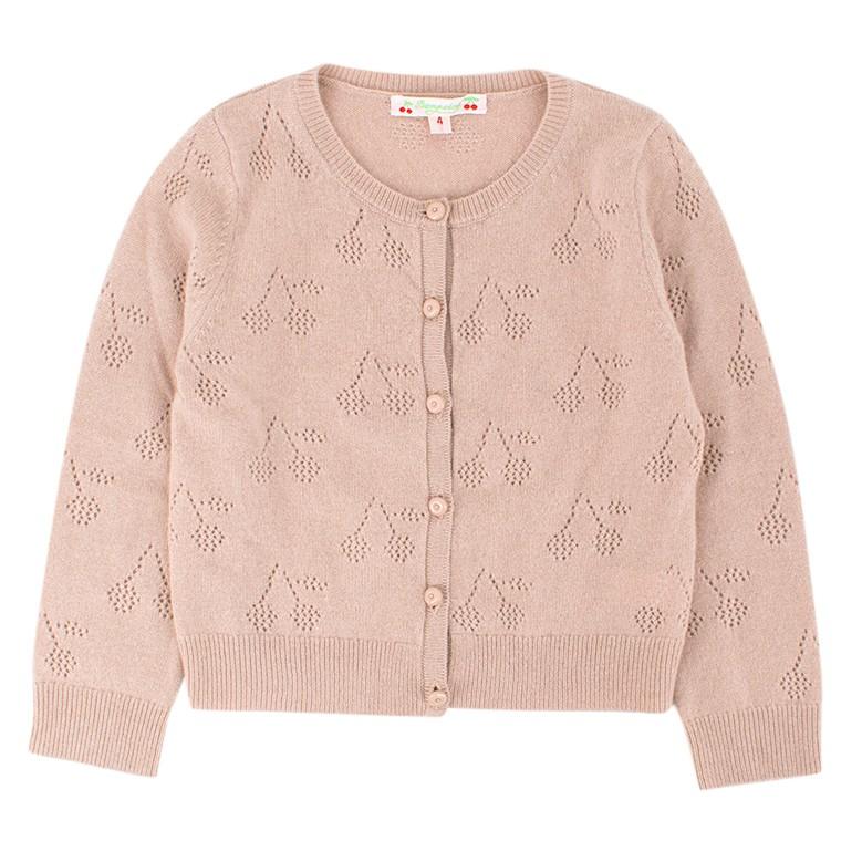 Bonpoint Girls 4-years Dusty Pink Knit Cardigan