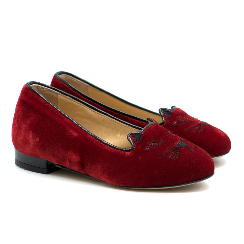 Charlotte Olympia Girls Red Velvet Incy Kitty Flats