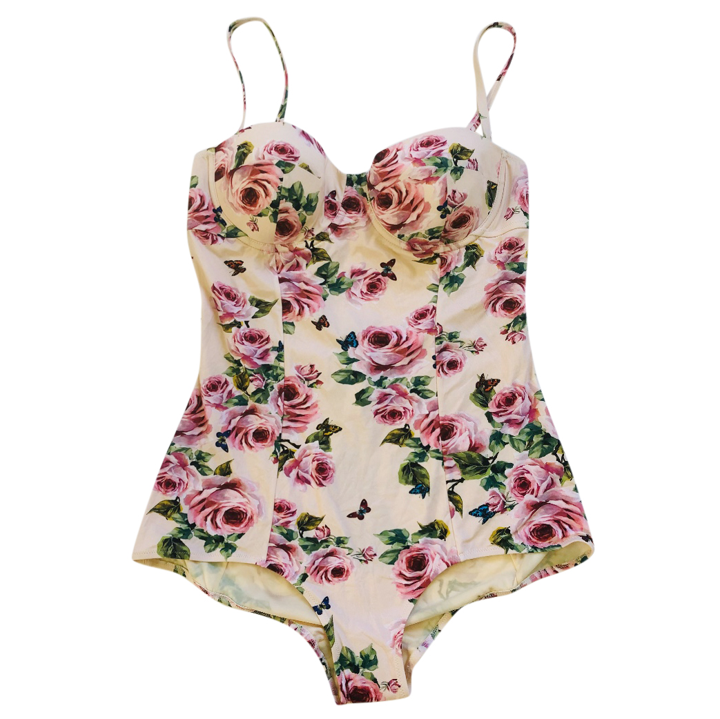dce9ff0dfb Dolce Gabbana Cream Rose Print Swimsuit | HEWI London