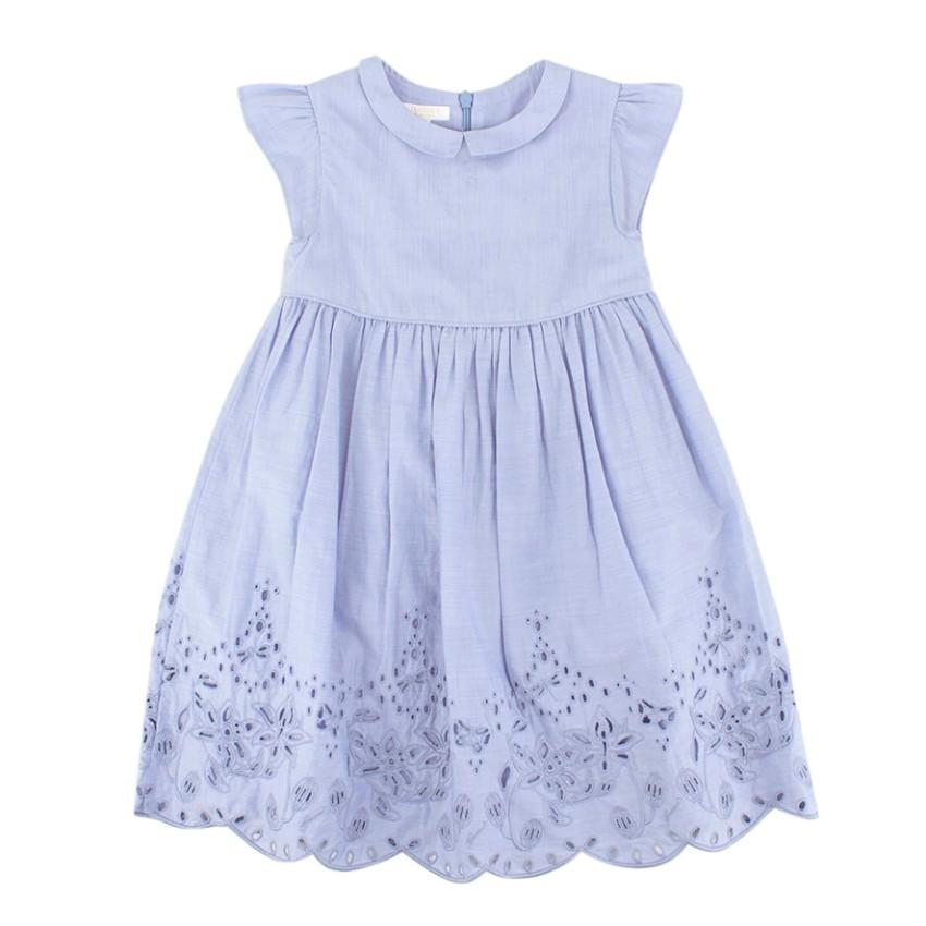 Gucci Girls Blue Cutwork Embroidery Dress