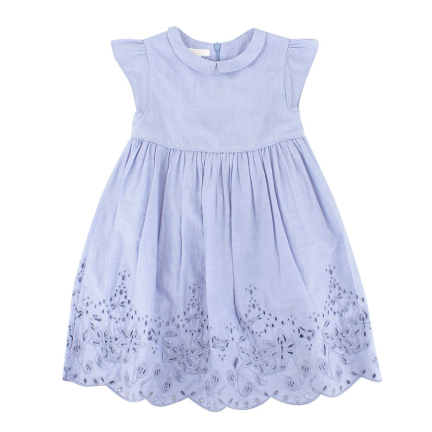 Gucci Girls Blue Cutwork Embroidery Dress