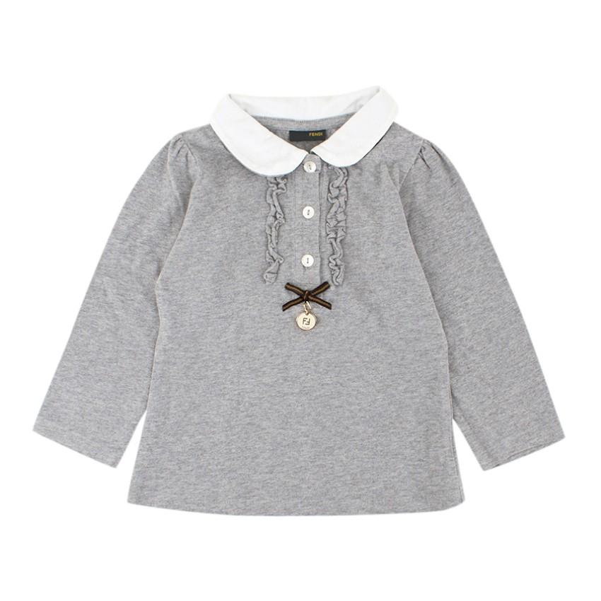 Fendi Girls Grey Long-sleeved Cotton Top