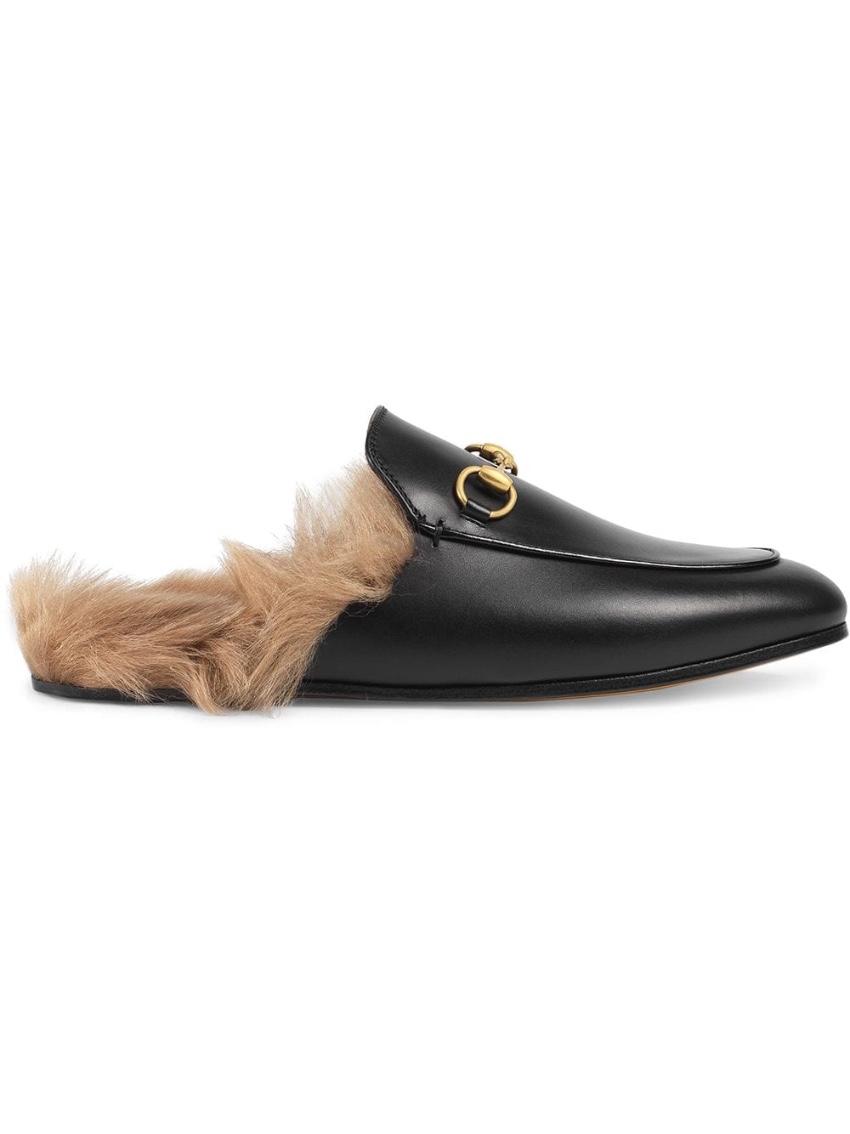Gucci Black Princetown Fur Slippers