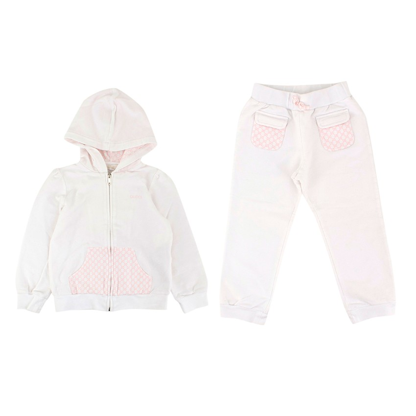 Gucci Girls 2Y White and Pink Hoodie and Trousers Set