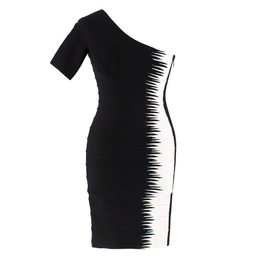 Herve Leger Black and White Asymmetric Bandage Dress