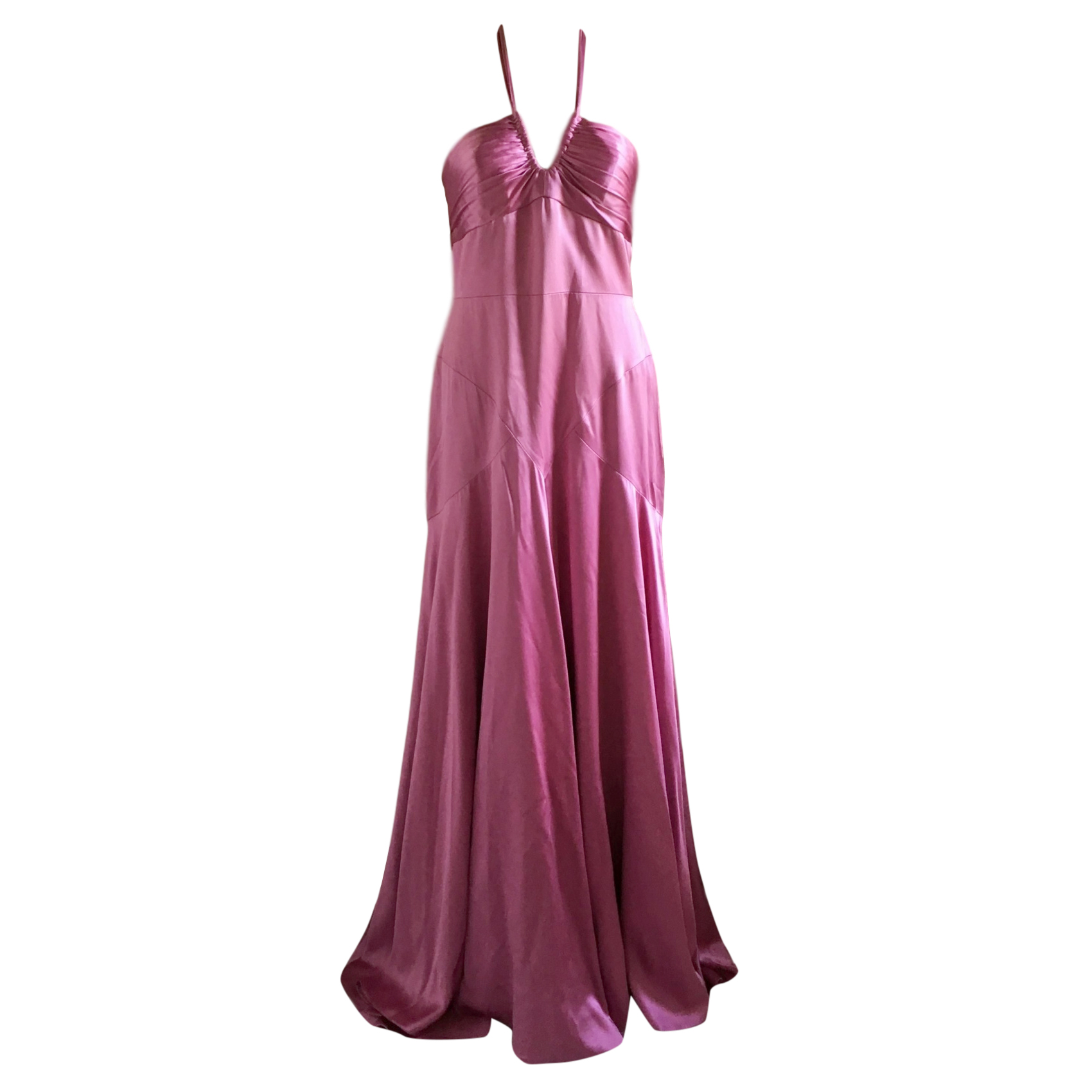 Monique L'huilier pink silk halter neck gown