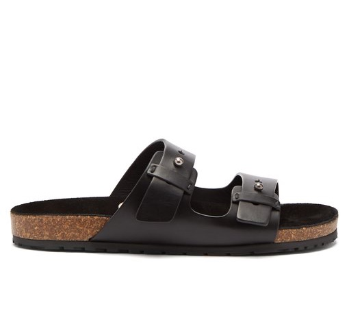 Saint Laurent Jimmy double-strap leather slides