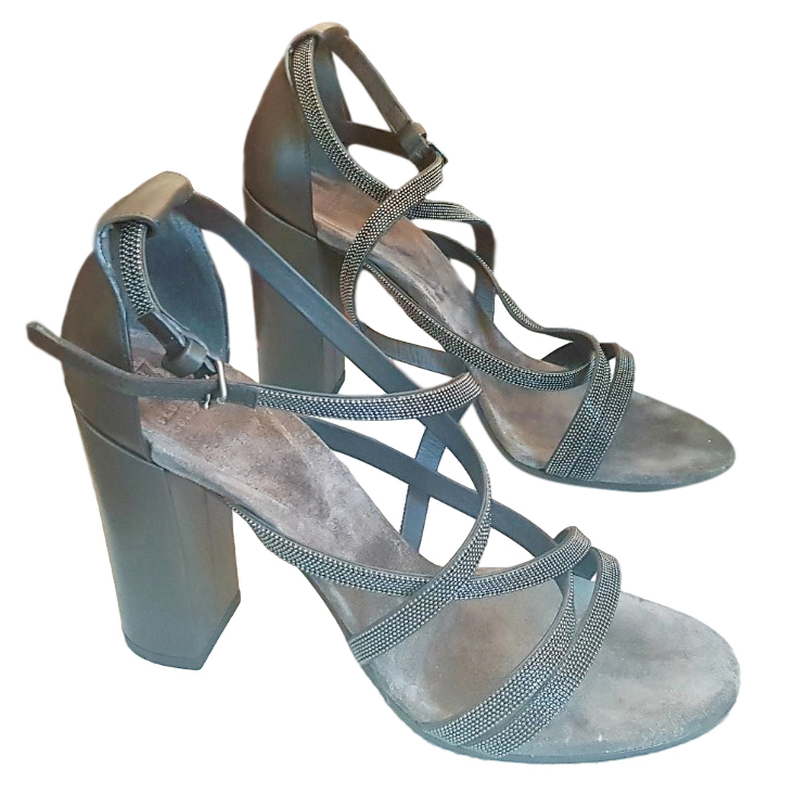 Brunetto Cucinelli grey scrappy sandals