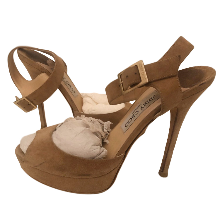 Jimmy Choo tan suede sandals