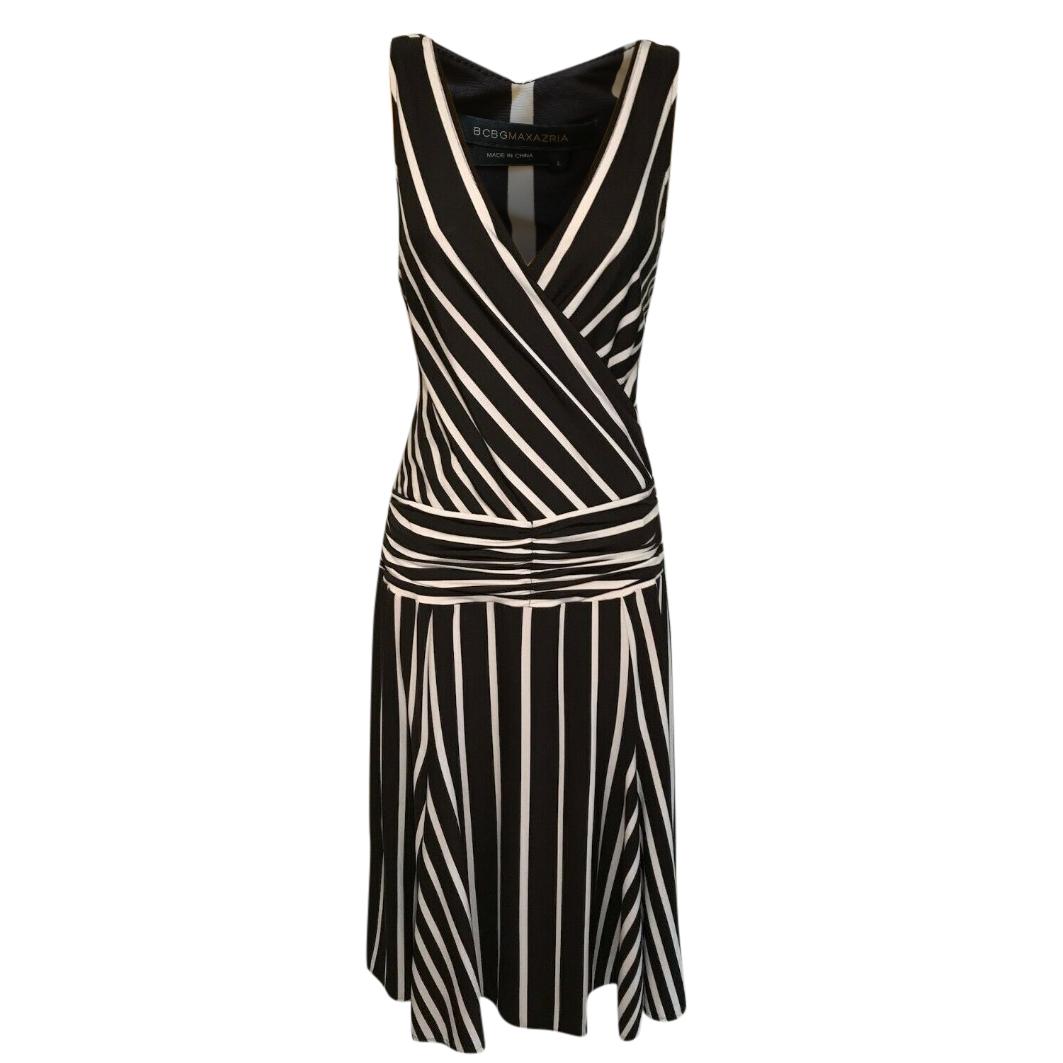 BCBG Max Azria brown and cream striped dress