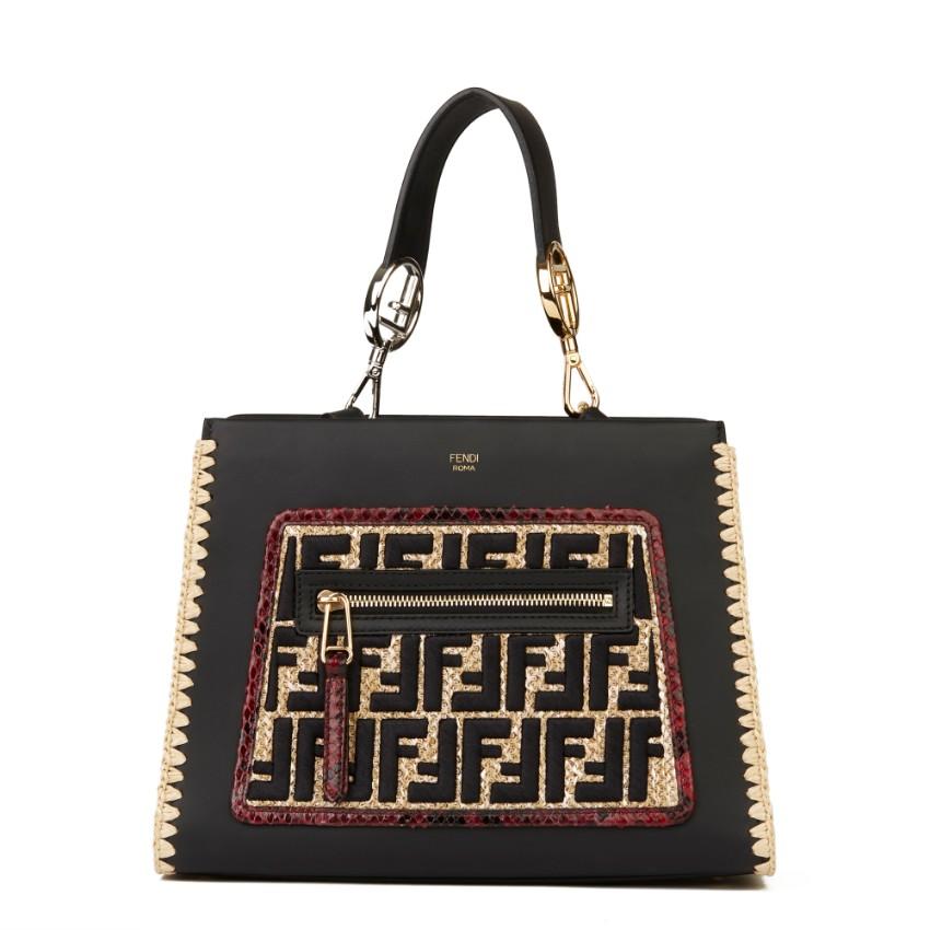 Fendi Leather, Python and Raffia Runaway Bag