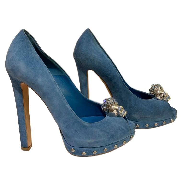 Alexander McQueen skull-embellished suede peep-toe heels