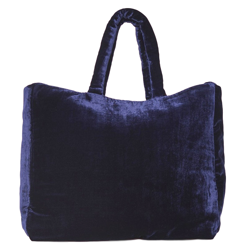 The Vampires Wife midnight-blue velvet tote bag