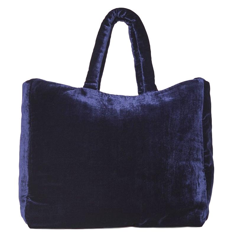 The Vampires Wife midnight-blue velvet tote bag