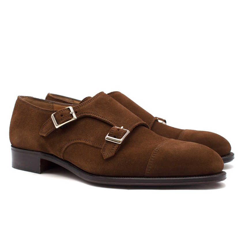 Hardy Amies London Dark Brown Suede Double Monk Shoes