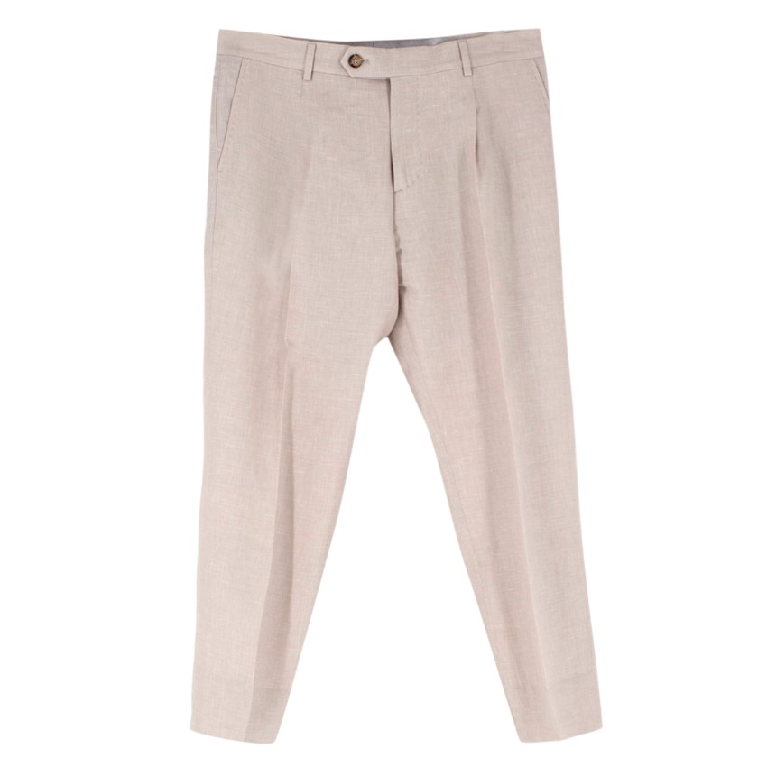 Brunello Cucinelli Beige Wool Blend Tailored Trousers