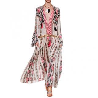 Etro Multi-Print Saffron Silk Maxi Dress